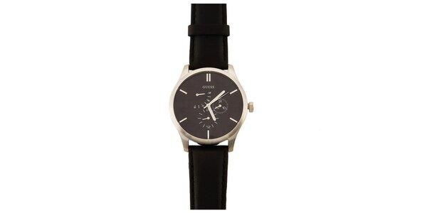 Pánske čierne minimalistické hodinky Guess