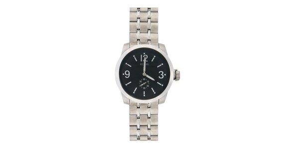 Pánske oceľové hodinky s čiernym ciferníkom Guess