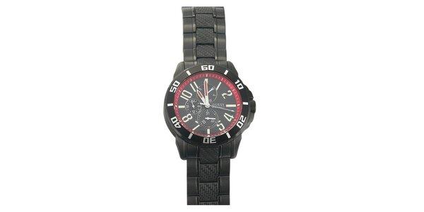 Pánske čierne hodinky s červenými prvkami Guess