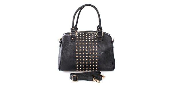 Dámska čierna kabelka s cvokmi London Fashion