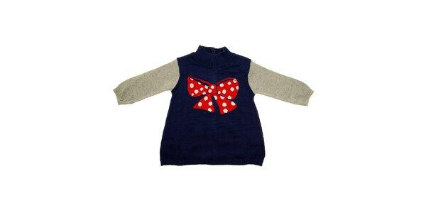 Detské modro-šedé šatičky Tuc Tuc s velkou červenou mašľou