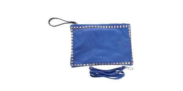 Dámska modrá listová kabelka s pyramídkami London Fashion