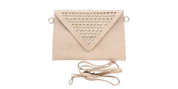 Dámska smotanová listová kabelka s cvokmi London Fashion
