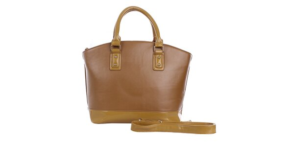 Dámska hnedá kabelka s béžovým pruhom London Fashion