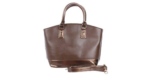 Dámska čokoládová kabelka s hnedým pruhom London Fashion
