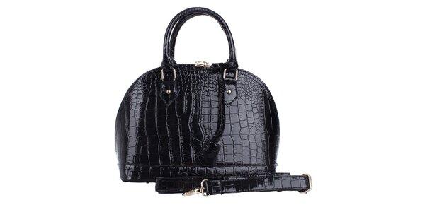 Dámska oblá lesklá čierna hadia kabelka London Fashion