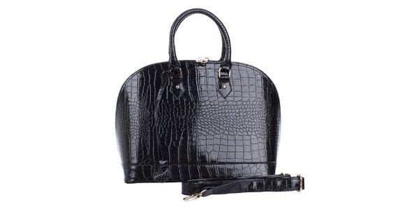 Dámska oblá lesklá čierna hadia kabelka s odnímateľným popruhom London Fashion