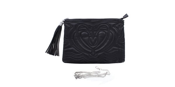 Dámska čierna reliéfna listová kabelka so strapcom London Fashion