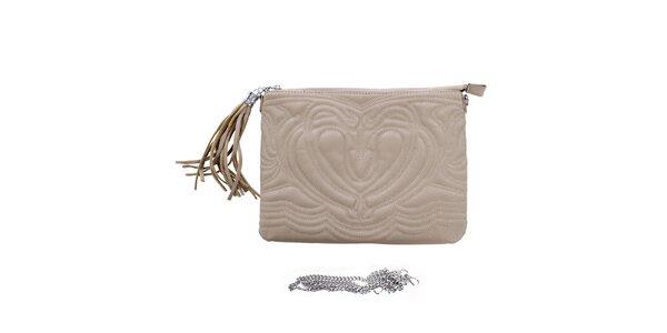 Dámska šedobéžová reliéfna listová kabelka so strapcom London Fashion