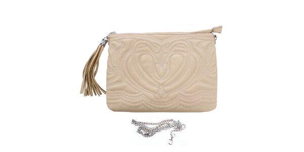 Dámska béžová reliéfna listová kabelka so strapcom London Fashion