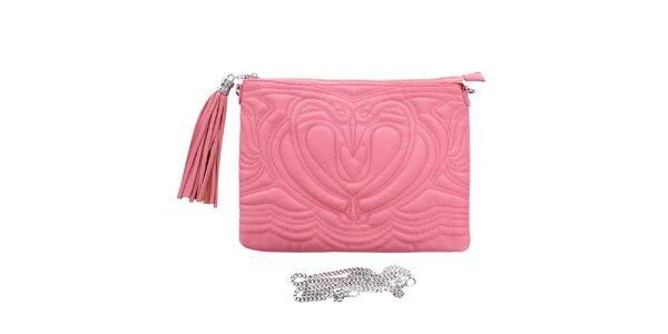 Dámska ružová reliéfna listová kabelka so strapcom London Fashion