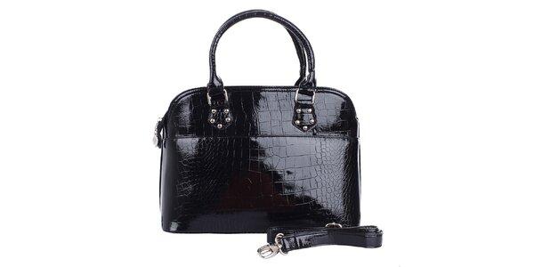 Dámska lesklá čierna hadia kabelka London Fashion