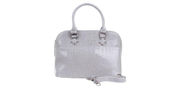 Dámska lesklá šedá hadia kabelka London Fashion