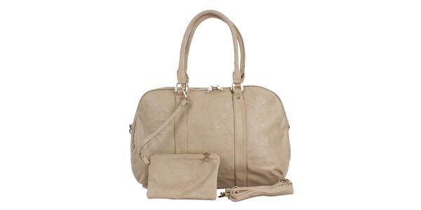 Dámska krémová kabelka s peňaženkou London Fashion