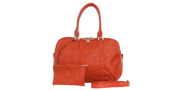 Dámska tehlovo červená kabelka s peňaženkou London Fashion