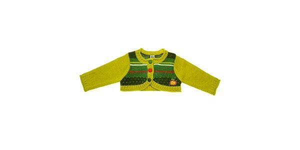 Detské zelené bolerko Tuc Tuc s farebnými prúžkami