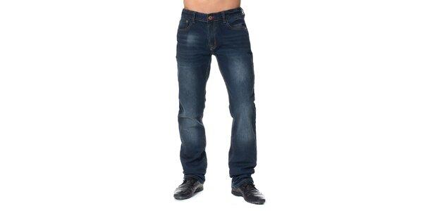 Pánske tmavo modré vyšúchané džínsy Paul Stragas