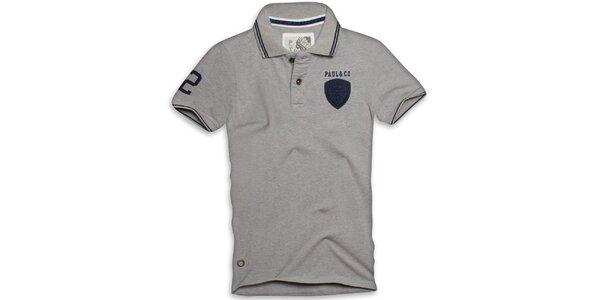 Pánske šedé polo tričko s krátkym rukávom Paul Stragas