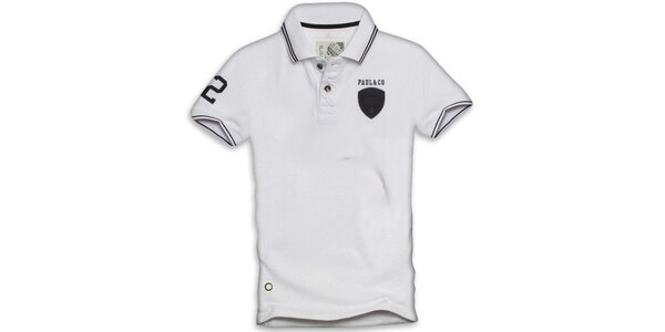 Pánske biele polo tričko s krátkym rukávom Paul Stragas