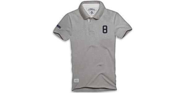 Pánske šedé polo tričko s výšivkou na chrbte Paul Stragas
