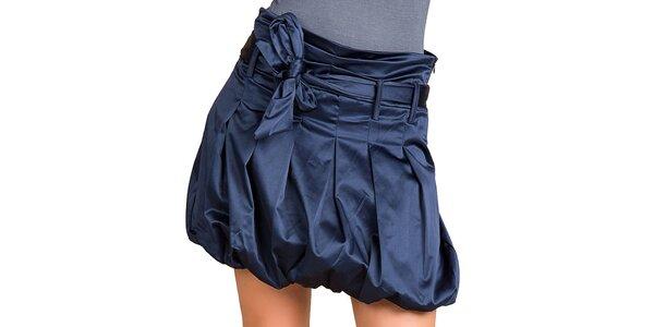 Dámska tmavo modrá lesklá balónová sukňa Keysha