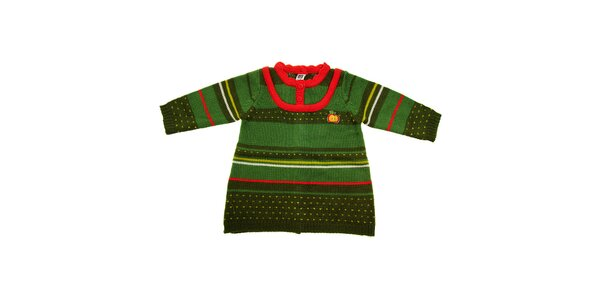 Detský zelený sveterík Tuc Tuc s farebnými prúžkami