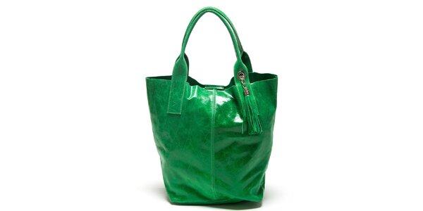 Dámska zelená kabelka s dvomi ušami Mangotti