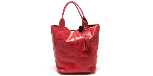 Dámska červená kabelka s dvomi ušami Mangotti