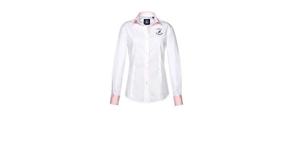 Dámska biela košeľa s ružovými manžetami M. Conte
