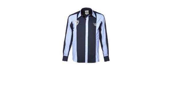 Pánska modrá košeľa s farebnými kontrastmi M. Conte