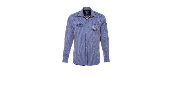 Pánska modro pruhovaná košeľa M. Conte