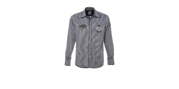 Pánska čiernobielo pruhovaná košeľa M. Conte