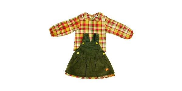 Detské zelené menčestrové satičky Tuc Tuc s kockovanou košielkou