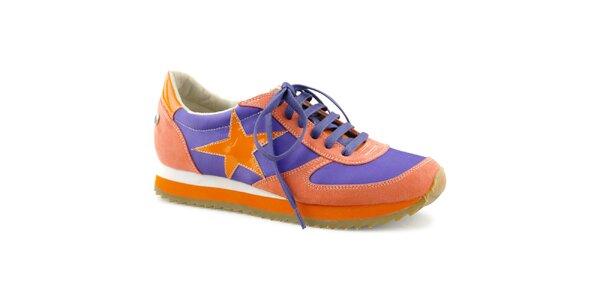 Dámske červeno-oranžovo-fialové tenisky s hviezdou Blink
