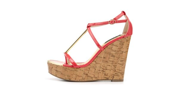 Dámske červené sandálky na vysokom kline Blink
