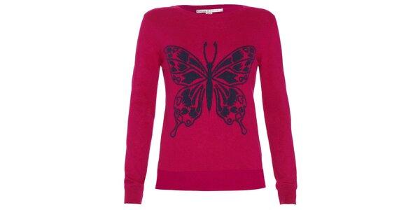 Dámsky malinový svetrík s motýlikom Uttam Boutique