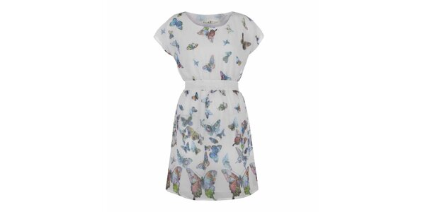 Dámske krémovo biele šaty s motýlikmi Uttam Boutique