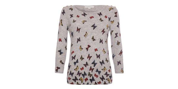 Dámsky šedý svetrík s motýlikmi Uttam Boutique