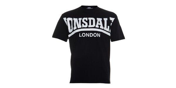 Pánske čierne tričko Lonsdale s krémovou potlačou
