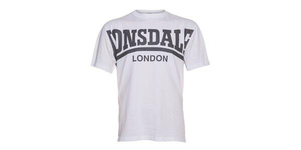 Pánske biele tričko Lonsdale s šedou potlačou