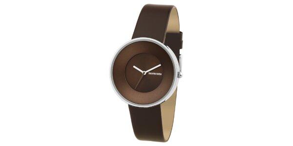 Hnedé retro hodinky s koženým remienkom Lambretta