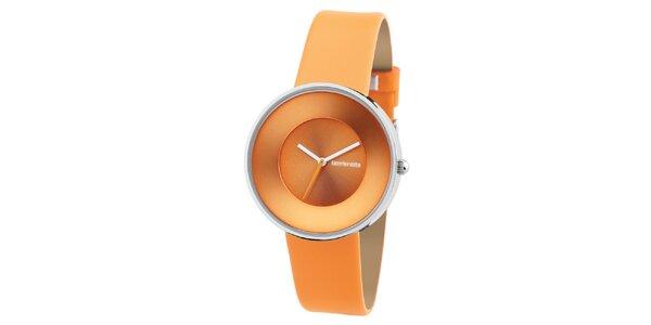 Oranžové retro hodinky s koženým remienkom Lambretta