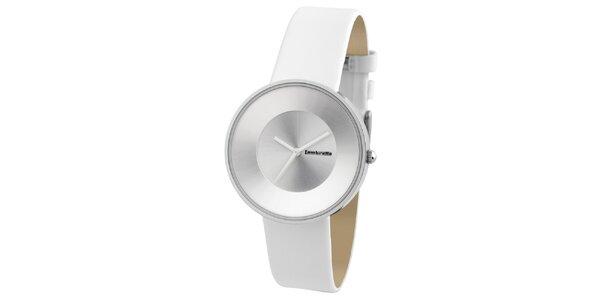 Biele retro hodinky s koženým remienkom Lambretta