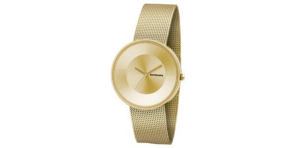 Zlaté hodinky s koženým remienkom Lambretta
