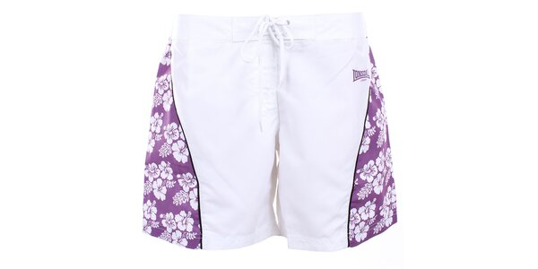 Dámske biele šortky s fialovými stranami Lonsdale