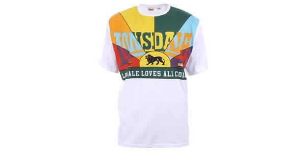 Pánske bavlnené tričko s farebným dekoltom Lonsdale