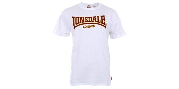 Pánske biele bavlnené tričko s potlačou Lonsdale