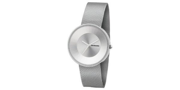Strieborné hodinky s texturovaným remienkom Lambretta
