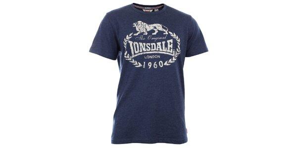 Pánske tmavo modré slim fit tričko s potlačou Lonsdale
