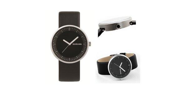 Čierne retro hodinky s koženým remienkom Lambretta